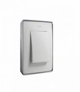 Выключатель Simon серия 82 Detail, белый/натуральный алюминий