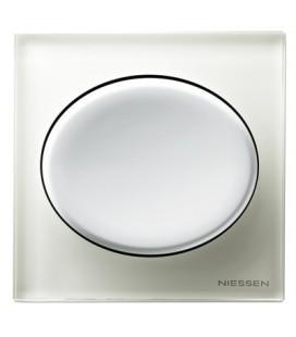 Выключатель в сборе ABB Niessen серии Tacto, белое стекло