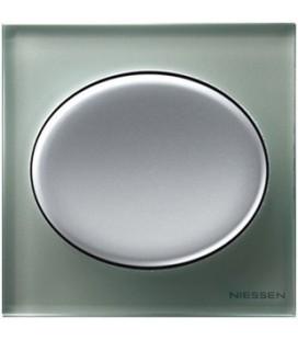 Выключатель в сборе ABB Niessen серии Tacto, серебряное стекло