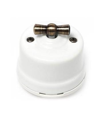Выключатель поворотный Salvador для наружного монтажа, проходной, белый