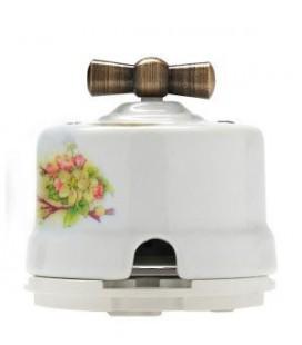 Двухклавишный поворотный выключатель Salvador для наружного монтажа, яблоня