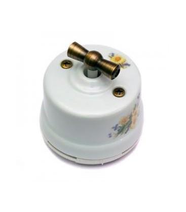 Двухклавишный поворотный выключатель Salvador для наружного монтажа, ромашка