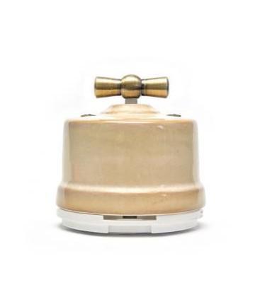 Двухклавишный поворотный выключатель Salvador для наружного монтажа, Бежевый
