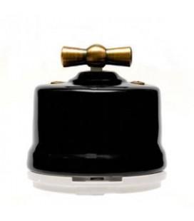 Выключатель поворотный Salvador для наружного монтажа проходной, Черный