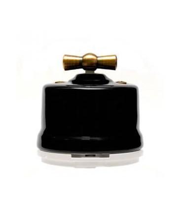 Двухклавишный поворотный выключатель Salvador для наружного монтажа, Черный