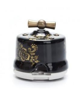 Выключатель поворотный Salvador 2-х позиц. для наружного монтажа, проходной, чёрный с золотом