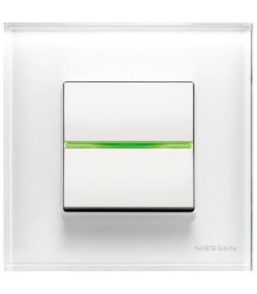 Выключатель в сборе ABB Niessen серии Zenit, стекло белое