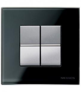 Выключатель в сборе ABB Niessen серии Zenit, стекло чёрное/алюминий