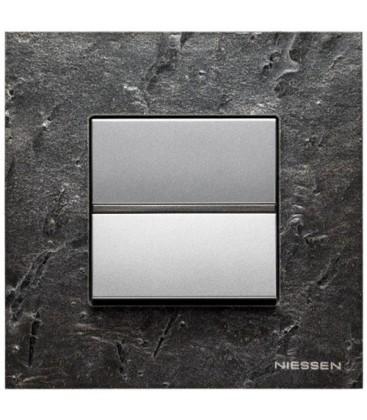Выключатель в сборе ABB Niessen серии Zenit, натуральный сланец/алюминий