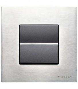 Выключатель в сборе ABB Niessen серии Zenit, натуральная сталь/антрацит