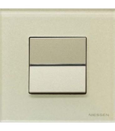 Выключатель в сборе ABB Niessen серии Zenit, стекло жемчужное