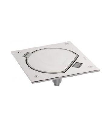 Лючок для монтажа в пол с розеткой, SIMON, нержавеющая сталь