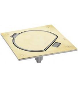 Лючок для монтажа в пол с розеткой (с заземлением + защ. шторкой) и коммуникационной розеткой RJ45 кат. 5e UPT, SIMON, латунь