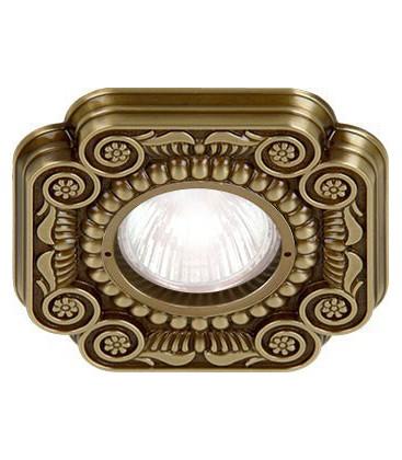 Квадратный встраиваемый точечный светильник из латуни, FEDE коллекция FIRENZE, патина