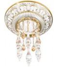 Круглый точечный светильник из латуни, с кристаллами Swarovski, FEDE коллекция CORDOBA CRYSTAL DE LUXE, золото с белой патиной