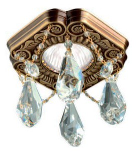 Cветильник из латуни c кристаллами Swarowsky, FEDE коллекция FIRENZE CRYSTAL DE LUXE, патина