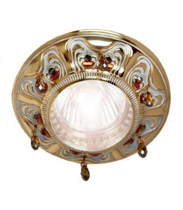Круглый точечный светильник из латуни, FEDE коллекция CRYSTAL DE LUXE, патина с кристаллами
