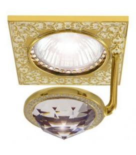 Квадратный точечный светильник из латуни с крупным кристаллом, FEDE коллекция SAN SEBASTIAN CRYSTAL DE LUXE, золото с патиной