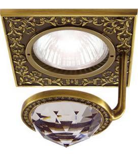 Квадратный точечный светильник из латуни с крупным кристаллом, FEDE коллекция SAN SEBASTIAN CRYSTAL DE LUXE, патина