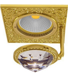 Квадратный точечный светильник из латуни с крупным кристаллом, FEDE коллекция SAN SEBASTIAN CRYSTAL DE LUXE, золото