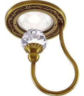 Круглый точечный светильник из латуни с крупным кристаллом, FEDE коллекция PARIS CRYSTAL DE LUXE, патина