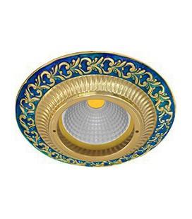 Круглый встраиваемый точечный светильник из латуни, FEDE коллекция SMALTO ITALIANO SAN SEBASTIAN, blue sapphire