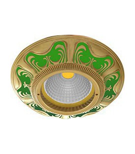Круглый встраиваемый точечный светильник из латуни, FEDE коллекция SMALTO ITALIANO SIENA, emerald green