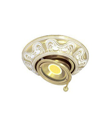 Круглый точечный поворотный светильник из латуни, FEDE коллекция SIENA SWIVET & TILT, золото с белой патиной