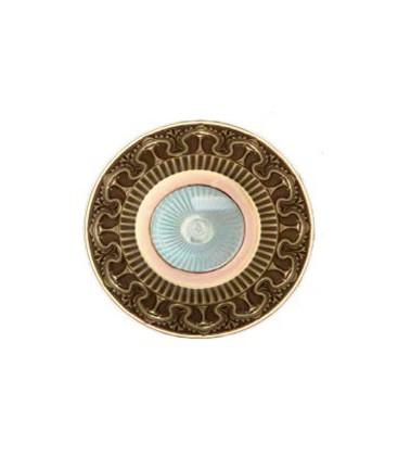 Круглый точечный светильник из латуни IP44, FEDE коллекция CORDOBA, прозрачное стекло, патина