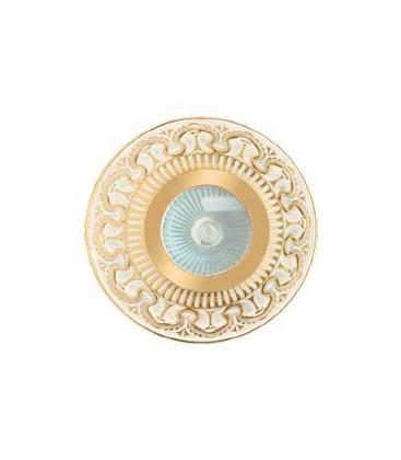 Круглый точечный светильник из латуни IP44, FEDE коллекция CORDOBA, прозрачное стекло, золото с белой патиной