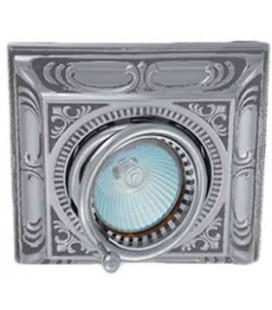 Квадратный встраиваемый одиночный поворотный светильник, FEDE коллекция SIENA SQUARE, блестящий хром