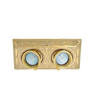 Прямоугольный встраиваемый двойной поворотный светильник, FEDE коллекция SIENA SQUARE, блестящее золото