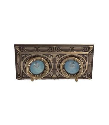 Прямоугольный встраиваемый двойной поворотный светильник, FEDE коллекция SIENA SQUARE, патина