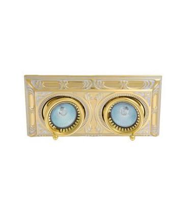 Прямоугольный встраиваемый двойной поворотный светильник, FEDE коллекция SIENA SQUARE, золото с белой патиной