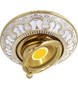Круглый точечный поворотный светильник из латуни, FEDE коллекция CORDOBA SWIVET & TILT, золото с белой патиной
