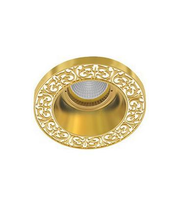 Круглый встраиваемый точечный светильник из латуни, FEDE коллекция EMPORIO ROUND, золото с белой патиной