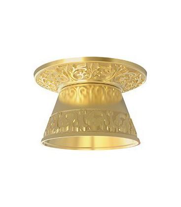 Круглый встраиваемый точечный светильник из латуни с декоративным рассеивателем, FEDE EMPORIO ROUND II, блестящее золото