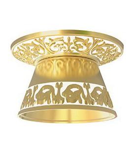 Круглый встраиваемый точечный светильник из латуни с декоративным рассеивателем, FEDE EMPORIO ROUND II, золото с белой патиной