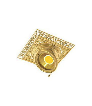 Квадратный встраиваемый поворотный светильник из латуни, FEDE коллекция EMPORIO SQUARE, золото с белой патиной