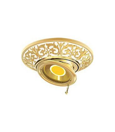 Круглый встраиваемый поворотный точечный светильник из латуни, FEDE коллекция EMPORIO SWIVEL & TILT, золото с белой патиной