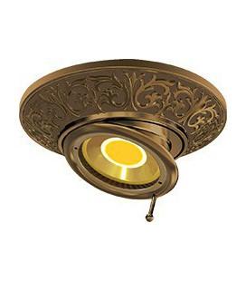 Круглый встраиваемый поворотный точечный светильник из латуни, FEDE коллекция EMPORIO SWIVEL & TILT, патина