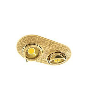 Прямоугольный встраиваемый двойной поворотный светильник из латуни, FEDE коллекция EMPORIO TWO, блестящее золото