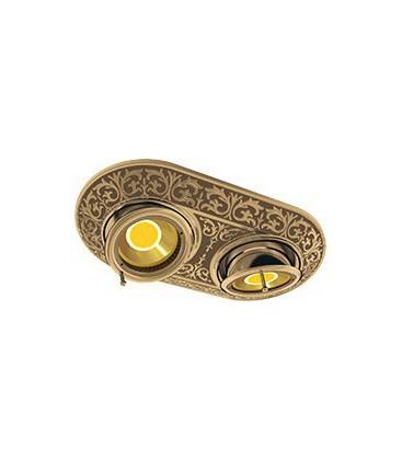 Прямоугольный встраиваемый двойной поворотный светильник из латуни, FEDE коллекция EMPORIO TWO, патина