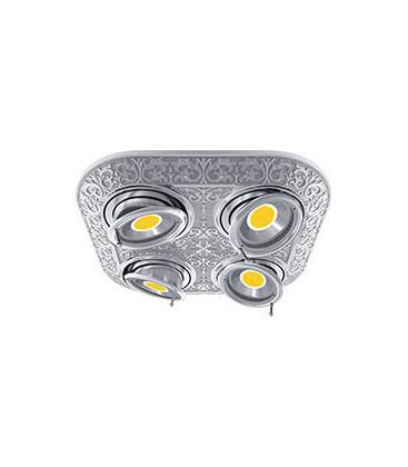 Прямоугольный встраиваемый четверной поворотный светильник из латуни, FEDE коллекция EMPORIO FOUR, блестящий хром