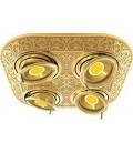 Прямоугольный встраиваемый четверной поворотный светильник из латуни, FEDE коллекция EMPORIO FOUR, блестящее золото