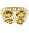 Прямоугольный встраиваемый четверной поворотный светильник из латуни, FEDE коллекция EMPORIO FOUR, золото с белой патиной