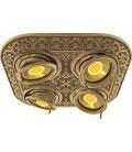 Прямоугольный встраиваемый четверной поворотный светильник из латуни, FEDE коллекция EMPORIO FOUR, патина