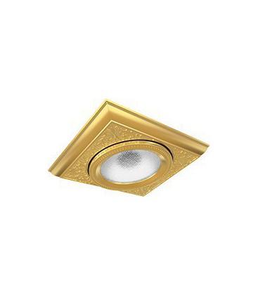 Квадратный одинарный встраиваемый точечный светильник из латуни, FEDE коллекция EMPORIO MODULAR I, блестящее золото