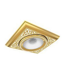 Квадратный одинарный встраиваемый точечный светильник из латуни, FEDE коллекция EMPORIO MODULAR I, золото с белой патиной