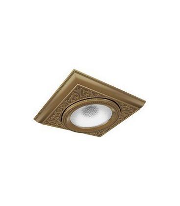 Квадратный одинарный встраиваемый точечный светильник из латуни, FEDE коллекция EMPORIO MODULAR I, патина